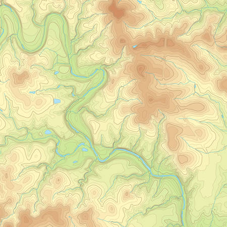 isolines: Realistic Topographic map of an area west of Austin, Texas. Vector map is layered with isolines, rivers, bodies of water and background on different layers.