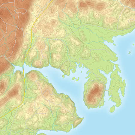 physical geography: Realistic Topographic map of an area Centre AL. Vector map is layered with isolines, rivers, bodies of water, roads and background on different layers.