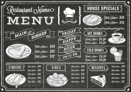 ornament menu: A full vector template Chalkboard menu for restaurant and snack bars with grunge elements