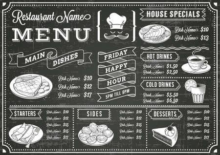 Un menu tableau noir de modèle de vecteur complet pour le restaurant et snack-bars avec des éléments de grunge