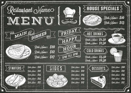 A full template Chalkboard menu for restaurant and snack bars with grunge elements. File is organized with layers for ease of use.