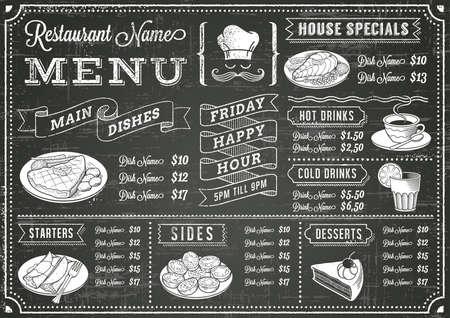 Un menu di lavagna modello completo per ristorante e snack bar con elementi grunge. Il file è organizzato con livelli per facilità d'uso.