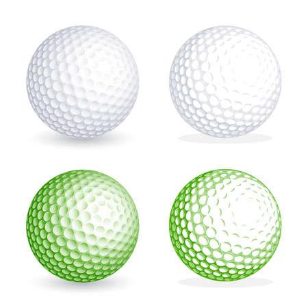 2 つのこんにちはの詳細のゴルフ ・ ボールの影、1 つのフラット スタイル。ファイルの影からボールを分離する層に編成されています。すべての色  イラスト・ベクター素材