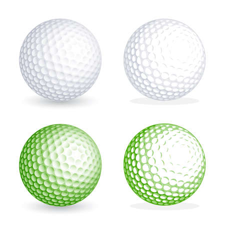 golf  ball: Two hi detail golf balls, one shaded and one flat style. File is organized with Layers, separating balls from shadows. All colors are global, so its easy to customize and color the ball as you need it Illustration