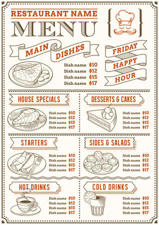 A full template menu for restaurant and snack bars with nice food illustrations. File is organized with layers for ease of use.