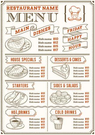 Plná šablona menu pro restaurace a bufety s pěknými ilustracemi potravin. Soubor je organizován ve vrstvách pro snadné použití.