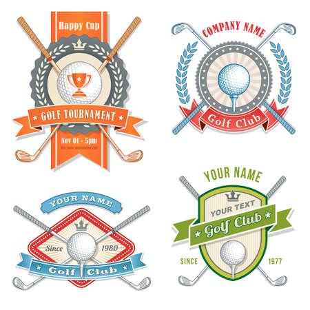 golf ball on tee: 4 Colorful Logos and Placards for Golf Club Organizations or Tournament Events.  Vector file is organized with layers for ease of editing. Illustration