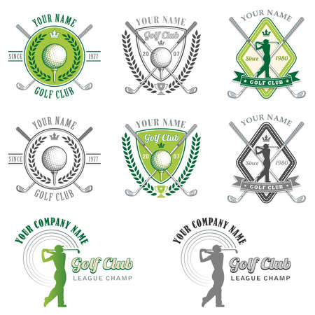 Eight Colorful and Placards for Golf Club Organizations or Tournament Events. 向量圖像