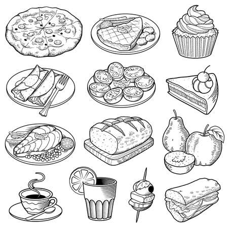 Vector Food Illustrations.  Stock Illustratie