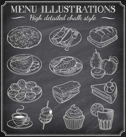 Pizarra vector Ilustraciones Alimentos. Conjunto de ilustraciones dibujadas vector mano en una pizarra sucia. Archivo vectorial es en capas para la facilidad de uso