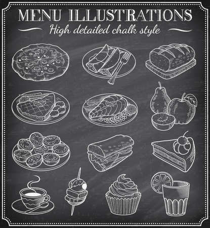 side dish: Vector Chalkboard Food Illustrations. Set of vector hand drawn illustrations on a dirty blackboard. Vector file is layered for ease of use