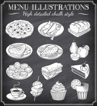 chalk outline: Vector Chalkboard Food Illustrations. Set of vector hand drawn illustrations on a dirty blackboard. Vector file is layered for ease of use
