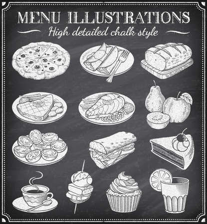 Vector Chalkboard Food Illustrations. Set of vector hand drawn illustrations on a dirty blackboard. Vector file is layered for ease of use
