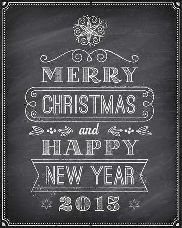 ベクター クリスマスのグリーティング カード チョークで描画「メリー クリスマスと幸せな新年」と非常にクールな背景の黒板。芸術は編集の容易  イラスト・ベクター素材