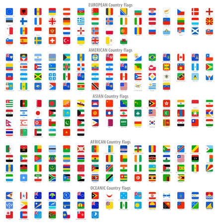 Full collection of World Rounded Square Vector National flag Icons. Stock Illustratie