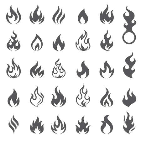 Big set of 29 flame and fire vector icons. Vector file is fully layered  イラスト・ベクター素材
