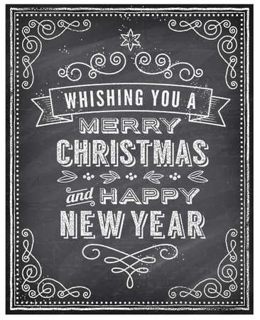 Vector Christmas Greeting Card with Chalk drawn