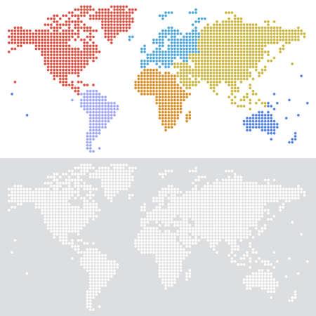 着色された大陸と白と灰色の背景上の 2 つのバージョンで世界の点線ハーフトーン ベクトル地図。ベクター ファイルは完全に階層化されます。  イラスト・ベクター素材