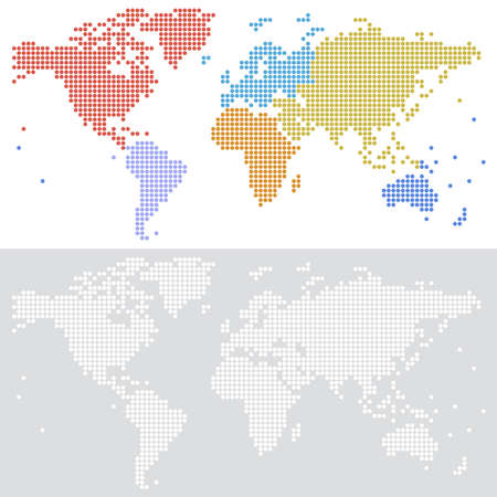 Dotted halftone Vector map of the world in two versione, with colored continents and white on grey background. Vector file is fully layered.