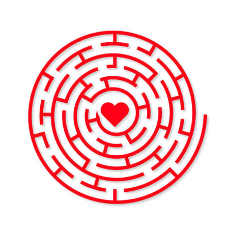 finding love: Round Vector maze with a red heart in the middle