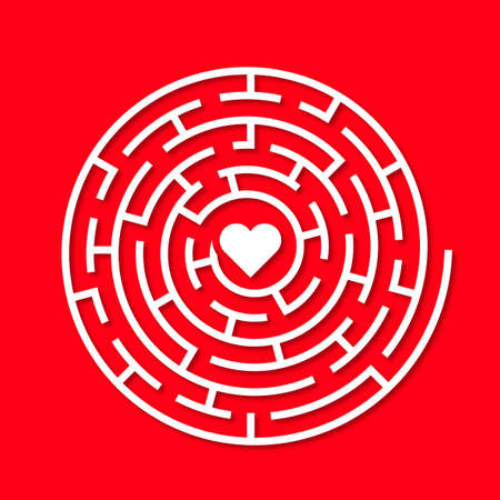 Round Red maze with a white heart in the middle Vector