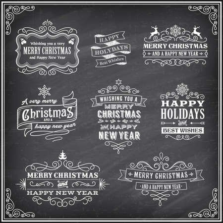 Vector Christmas labels with Chalk drawn Merry Christmas and Happy new year and a very cool background chalkboard. The art is fully layered for ease of editing. Vector