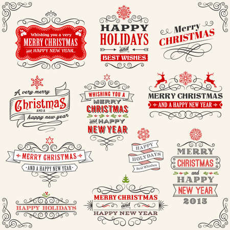 Christmas labels with Merry Christmas and Happy new year variations.  Vector