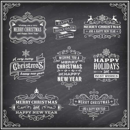ease: Vector Christmas labels with Chalk drawn Merry Christmas and Happy new year and a very cool background chalkboard. The art is fully layered for ease of editing. Illustration