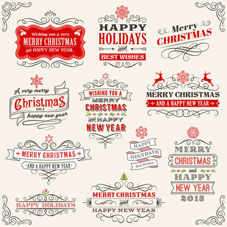 Vector Christmas labels with Merry Christmas and Happy new year variations. The art is fully layered for ease of editing. Vector