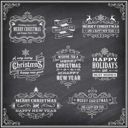 Vector Christmas labels with Chalk drawn Merry Christmas and Happy new year and a very cool background chalkboard. The art is fully layered for ease of editing. Illustration