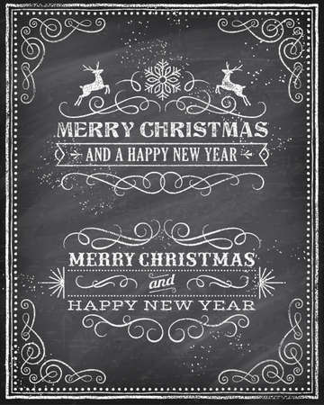 Vector Christmas Greeting Card with Chalk drawn Merry Christmas and Happy new year and a very cool background chalkboard. The art is fully layered for ease of editing. Vector