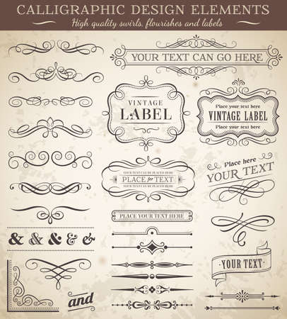 corner decoration: Big collection of vector decorations, swirls, banners and more vintage design elements