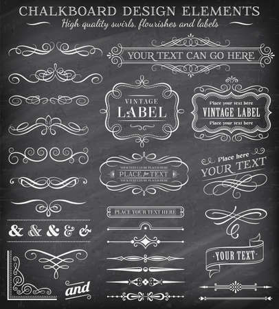 Big collection of vector decorations, swirls, banners and more vintage design elements on a detailed vector chalkboard background