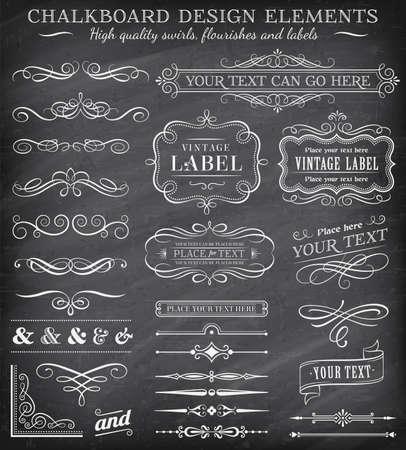 Gran colección de decoraciones vectoriales, remolinos, pancartas y más elementos de diseño vintage en un detallado fondo de pizarra de vectores
