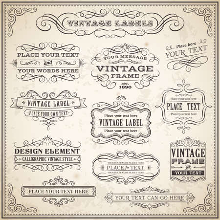 Big collection of Vintage Calligraphic Vector Labels and Banners, Vector file is fully layered for ease of use. Ilustrace