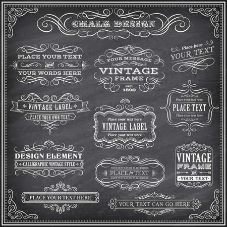 blackboard background: Big collection of vector Banners and Labels, with decorations, swirls and more vintage design elements on a detailed vector chalkboard background