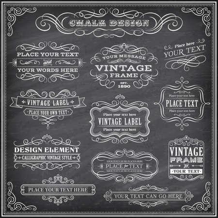 lavagna: Grande Raccolta di vettore banner ed etichette, con decorazioni, volute e pi� elementi di design vintage su una dettagliata illustrazione vettoriale lavagna sfondo Vettoriali