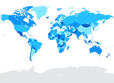 High Detail Vector Political World Map illustration