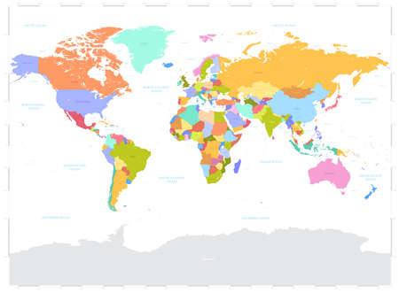 boundaries: High Detail Vector Political World Map illustration, cleverly organized with layers.