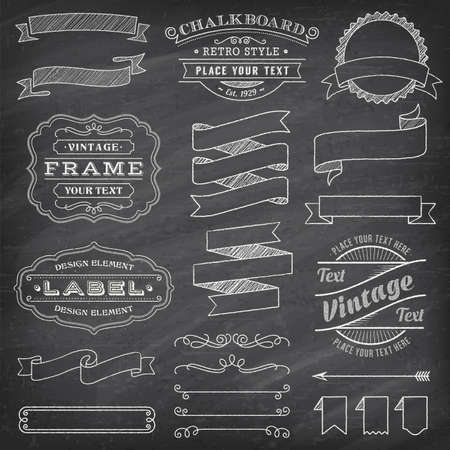 Big collection of vector Banners and Labels, with decorations, swirls and more vintage design elements on a detailed vector chalkboard background