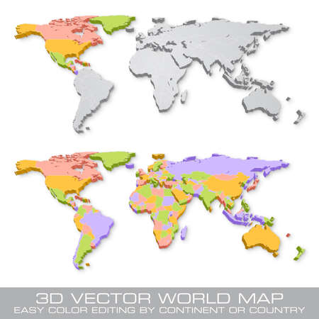 High Detail Vector Political World Map illustration with 3D shadow effect, cleverly organized with layers. Colored Countries can be easily turned to grey with Layers to hgihlight a continent or a single Country Illustration