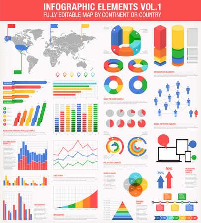 A comprehensive Template set for infographics.    向量圖像