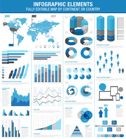 A comprehensive Template set for infographics.   - Bar charts - Graphs - Pie Charts - Detailed World Map - Pointer Icons - Story Line Templates  Vector file is EPS v.10 and is organized with layers, isolating all elements on its own layers.