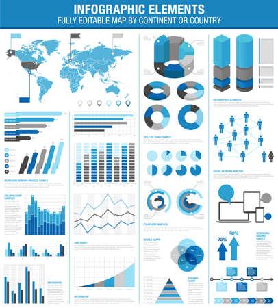 Una plantilla completa fijada para la infografía. - Los gráficos de barras - Pie Charts - - Gráficos detallada World Map - Puntero Icons - archivo Argumento plantillas Vector es v.10 EPS y se organiza con capas, aislando todos los elementos en sus propias capas.