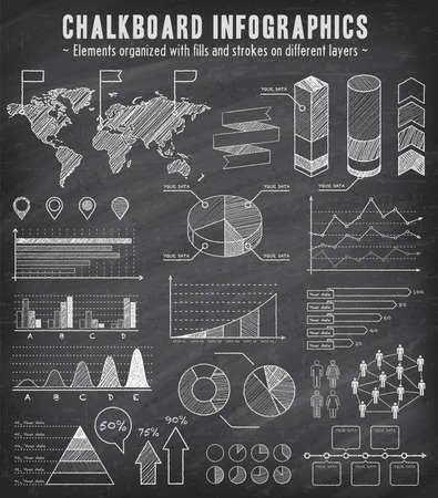 大ざっぱな黒板効果とインフォ グラフィックの包括的なテンプレートのセット。-横棒グラフ-グラフパイ図表-詳細な世界地図ポインター アイコン-