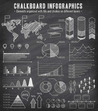 A comprehensive Template set for infographics with a sketchy Chalkboard Effect.   - Bar charts - Graphs - Pie Charts - Detailed World Map - Pointer Icons - Story Line Templates  Vector file is EPS v.10 and is organized with layers, isolating all elements  Illustration