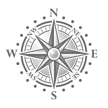 antique: Illustration of a Vector hi quality Compass Rose.