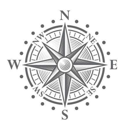 antik: Illustration von einem Vektor-hallo Qualität Compass Rose. Illustration