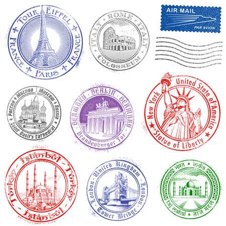 passport: Alta calidad Sellos de Grunge del vector de los monumentos m�s importantes de todo el mundo. Vectores
