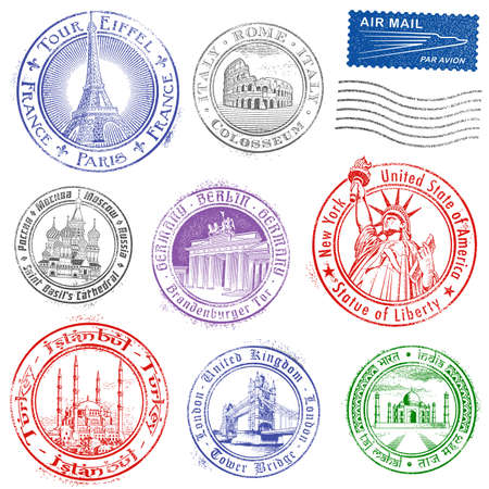 stamp passport: High quality Grunge Vector Stamps of major monuments around the world. Illustration